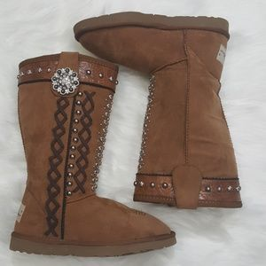 Montana West Plush Boots Tan Studded Bling Size 6